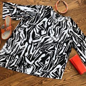 Maggie Barnes Plus Size 1X Asymmetrical knit Top